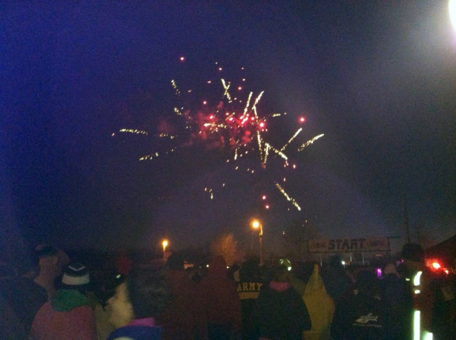 A few fireworks were set off before the start of Saturday evening's 5K in St. James, Mo.