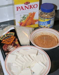 The ingredients for Panko Tofu Nuggets.