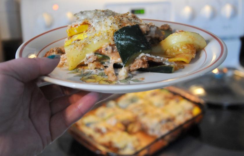 Delicious, reduced-guilt zucchini lasagne.