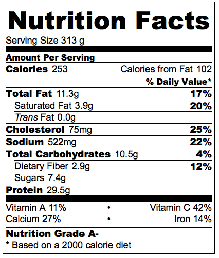 Nutrition information is for 1/8 of the recipe.