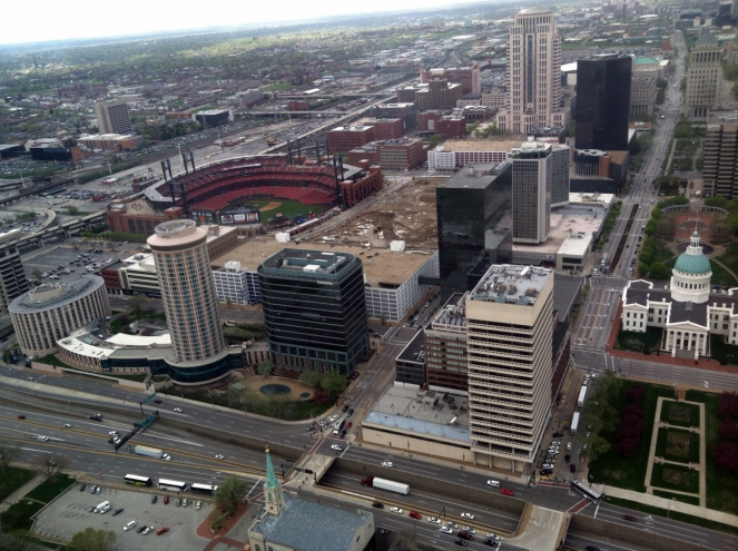 Overlooking Busch Stadium from the top of the Arch.