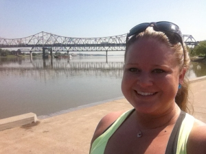Walking along the Louisville Riverwalk in Kentucky.